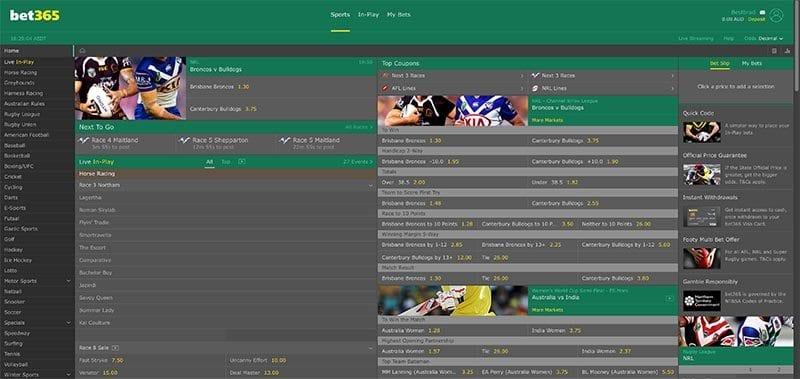 Bet365 global betting interface