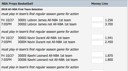 NBA prop betting at 5dimes