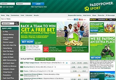 Paddy Power desktop website