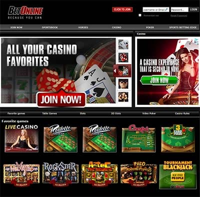 BetOnline instant play online casino interface
