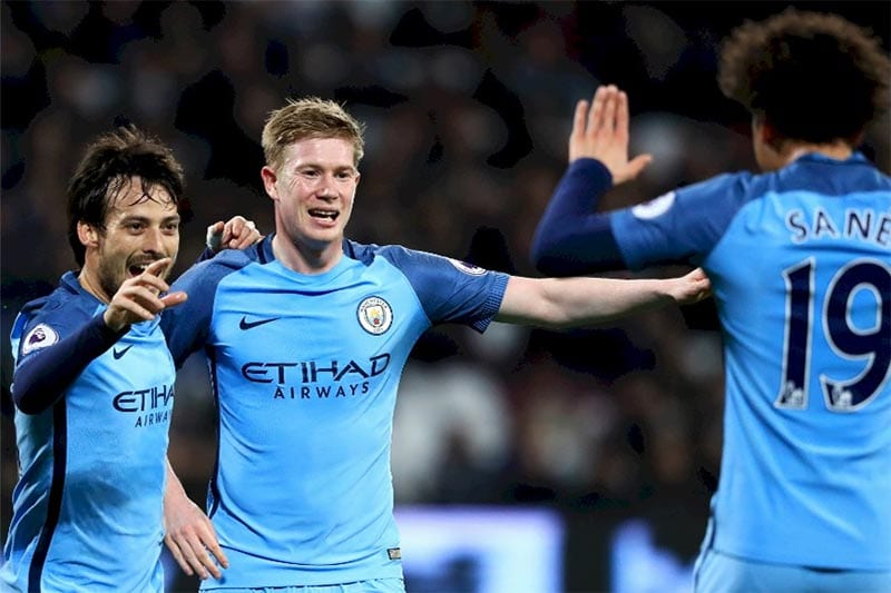 David Silva, Kevin de Bruyne and Leroy Sane