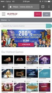 Slots.lv mobile casino site interface