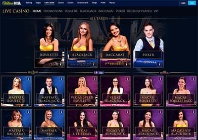 William Hill live casino section