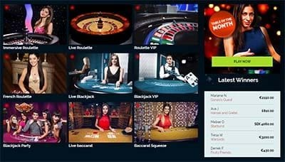 Live dealer casino at Wixstars.com