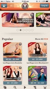 Leo Vegas mobile live dealer casino