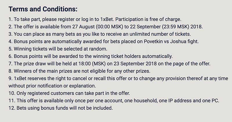 1XBet Car Terms and conditions