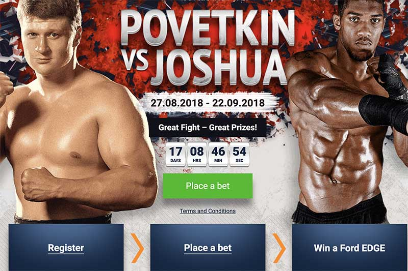 Povetkin vs Joshua UFC fight promotion by 1XBet