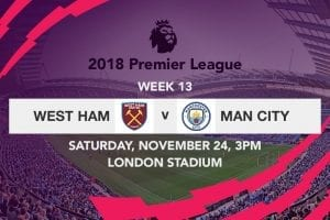 West ham v Man City EPL
