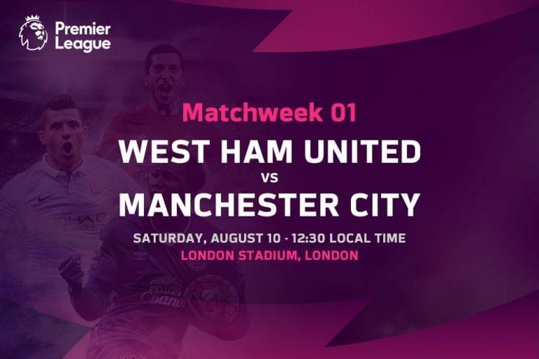 West Ham vs Man City EPL Matchweek 1